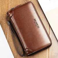 Men Oil Wax Leather Vintage Long Wallet Card Holder