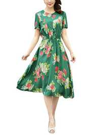 Summer Women Dress Silk Button Elastic Waist Hem Floral Dresses