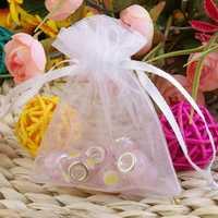 100pcs White Organza Pouch Mini Gift Bags Cases Set