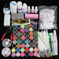 48 Acrylic Glitter Powder UV Primer Builder Cleaner Nail At Kit Set