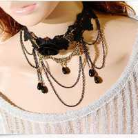 Gothic Women Black Rose Flower Beads Lace Collar Necklace