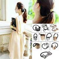 Women Metal Hair Band Cuff Pony Tail Holder Ring Rope
