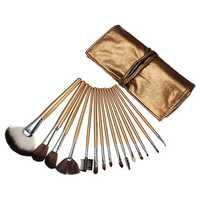 15pcs Cosmetic Makeup Powder Brush Set Foundation Leather Case