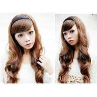 Women Hair Wigs Long Wavy With Black Hoop Headbrand