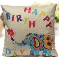 Linen Colorful Elephant Throw Pillow Case Sofa Cushion Cover