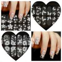 1-8 Transparent White Lace Crystal DIY Nail Sticker