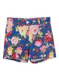 Retro Floral Flowers Printed High Waist Pastoral Style Short Pant