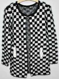 Zanzea Square Black and White Plaid Wool Cardigan Coat