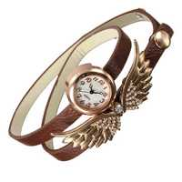 Vintage Women Angel Wings Long Wrap Strap Bracelet Watch