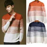 Christmas Gift Men's Knitted Contrast Color Crew-Neck Pullover Sweater