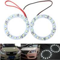 Pair 60mm White Car Angel Eyes Lights HeadLight Halo Ring Lights 15 LEDs SMD Chip