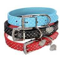 Adjustable Pet Dog PU Leather Dot Buckle Strap Collar