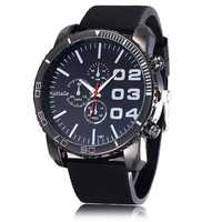 WOMAGE Men Casual Three Eyes Silicon Quartz Watch