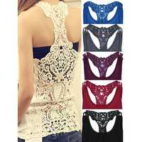 Women Lace Sleeveless Vest Hollow Out Tank Top Vest