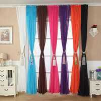 100x200cm Pure Color Tulle Window Curtain Balcony Bedroom Soft Curtain