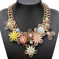 Bib Gold Plated Chain Resin Flower Statement Chunky Necklace