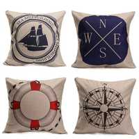 Compass Printed Cotton Linen Pillow Case Sofa Bed Cushion Cover