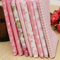 8pcs Pink Cotton DIY Sewing Fabric Handwork Curtain Patchwork Cloths