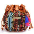 Bon prix Women Bohemia Canvas Bucket Bags Drawstring Crossbody Bags Shoulder Bags