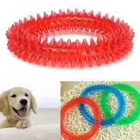 Rubber Pet Dog Puppy Healthy Dental Teeth Cleaning Gums Chew Biting Ring Toy