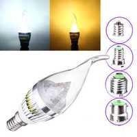 Dimmable E27 E14 E12 B22 4.5W 220V Silver Cover LED Candle Light Bulb