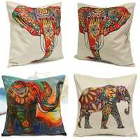 Vintage Elephant Cotton Throw Pillow Case Waist Cushion Cover Home Sofa Car Decor