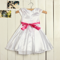 Girls Wedding Princess Bowknot Dress Tutu Bow-tie Short Sleeve Skirt