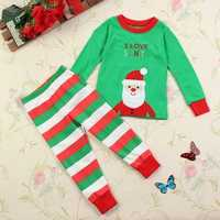Christmas Toddler Girl Boy Santa Xmas Sleepwear Clothing Sets