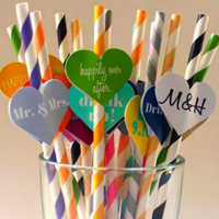 25 PCS Colorful Paper Biodegradable Drinking Straw