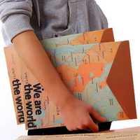 Stationery Vintage World Map Style Paper Folder Bag