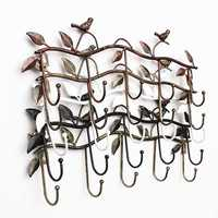 Iron Birds And Leaves Towel Coat Clothes Hangers 5 Hooks