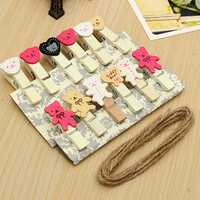 12 X Painted Cartoon Bear Wooden Photo Clip With Hemp Rope