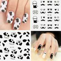 Black White Feather Mustache Lady Design Nail Sticker Decal