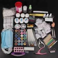 Pro 40Pcs Nail Art Acrylic Powder UV Gel Tip Brush Clipper Tool Set