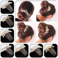 Flower Crystal Rhinestone Pearl Hair Clip Comb Pin Hairpin