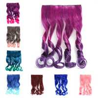 Long Curly Gradual Change Color Clip-on Hair Wig Extension