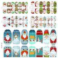 3D Christmas Tree Santa Claus Luminous Nail Full Stickers