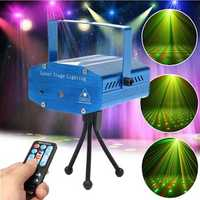 Mini R&G Auto/Voice Control LED Laser Stage Light Projector With Remote For Xmas Party KTV Disco