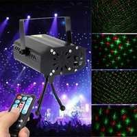 Mini R&G Auto/Voice LED Laser Stage Light Projector With Remote Controller For Xmas DJ Disco Party
