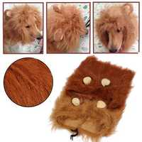 Pet Costume Lion Mane Wig for Dog Cat Halloween Clothes with Ear