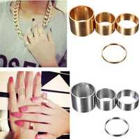 4pcs Gold Silver Circle Lord Knuckle Rings Masters Sun For Women
