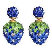 Cute Double Side Full Rhinestone Strawberry Stud Earrings For Women