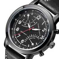 Hannah Martin Men Leather Decorative Small Dial Quartz Watch