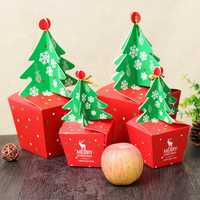 Christmas 2017 Paper Gift Box Candy Box Fit Wedding Party Christmas Tree Pattern Jewelry Packaging Box