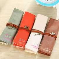 WAM PC-MB13 Canvas Pencil Case Roll Up Cosmetic Storage Bag Pen Holder Makeup Pouch