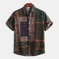 Mens Ethnic Style Pattern Printing Casual Fashion Shirts