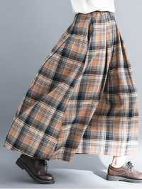 Women Vintage Elastic Waist Plaid A-line Maxi Skirts