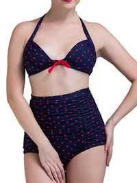 Women Vintage Dots Plus Size Wireless Backless High Waist Bikini Swimsuits