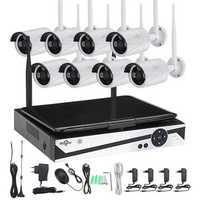 Hiseeu 10 Inch Displayer 8CH 1200P Wireless CCTV System NVR IP Camera IR-CUT Bullet CCTV Home Security System CCTV Kit