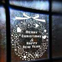 Merry ChristmasHappy New Year Wall Stickers Snowflakes Bells Christmas Tree Window Decor